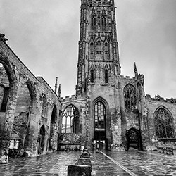 OLD COVENTRY CATHEDRAL Print by Mary Hardie
